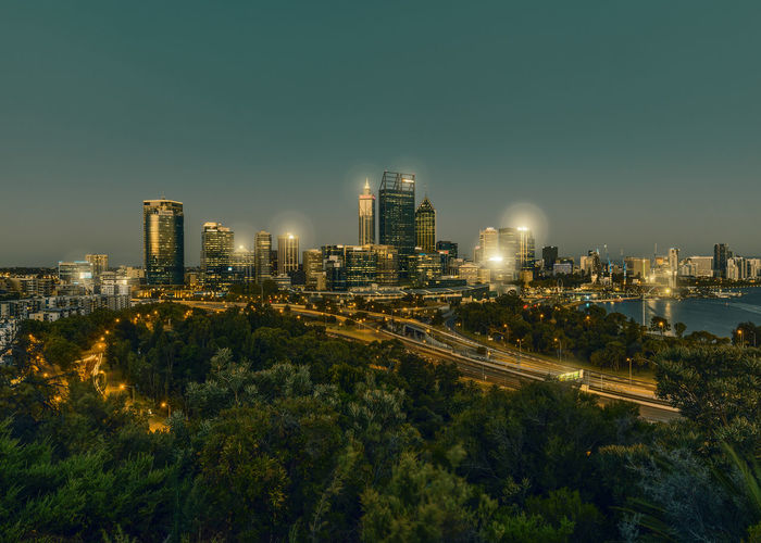 The skyline of Perth, Australia at night. A view from the Kings Park. Australia, Perth Cities At Night Cityscape Night Lights Nightphotography Australia & Travel Building Built Structure City Cityscape Cityview High Angle View Landscape Modern Night No People Outdoors Sky Urban Skyline