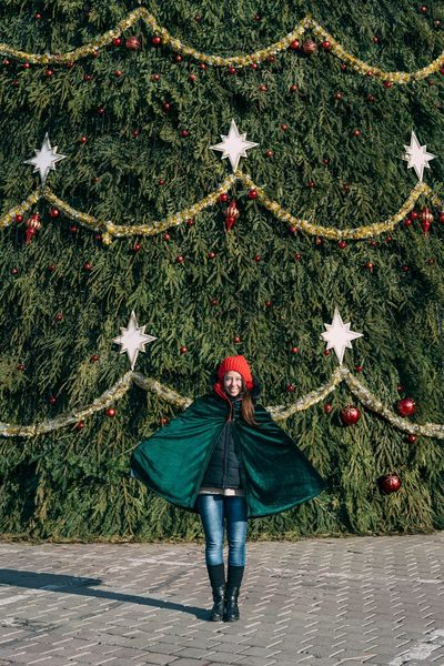 Real People One Person One Woman Only People Standing Tree Christmas Tree Christmas Christmas Decoration Holiday - Event Celebration Tradition Elf Smiling