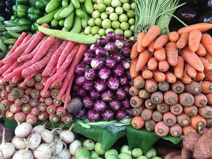 Full frame shot of various vegetables for sale at market