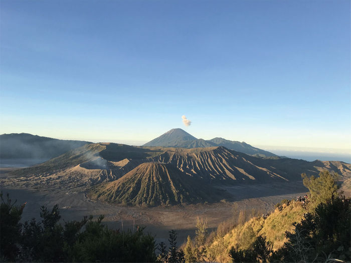 Panoramic view of volcanic landscape against sky,mount bromo, a spectacular indonesia mountain