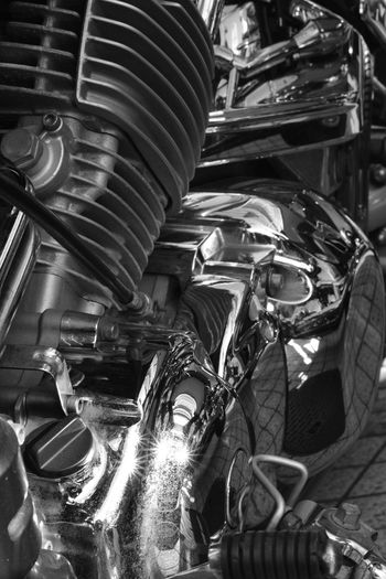 Air Cooling Engine Machine Monochrome Photograhy Close-up Day Indoors  No People V Style Engine