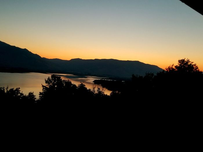 Silhouette Mountain Sunrise Sky Water Mountain Range Outdoors Lake Huntsville Utah Pineview Dam Reflection Reflection In The Water
