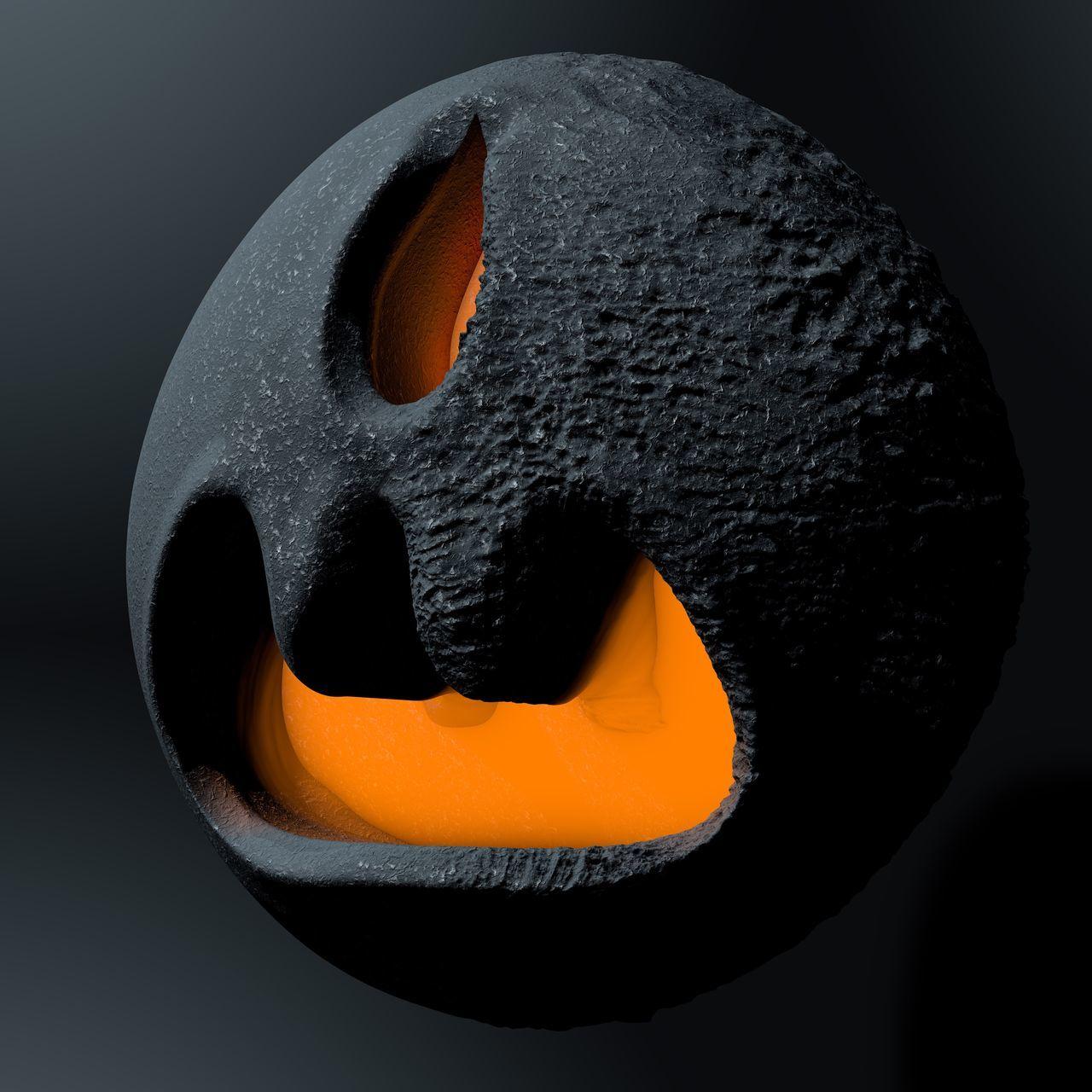 orange color, studio shot, black background, no people, close-up, black color, indoors, anthropomorphic face, night, halloween, jack o lantern