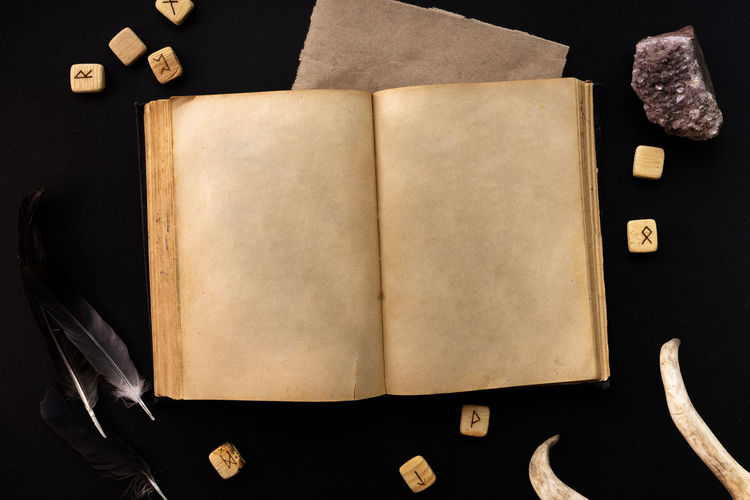 High angle view of open book against black background