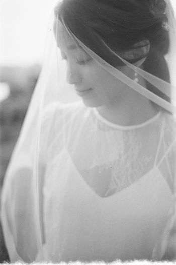 One Person Women Real People Lifestyles Young Adult Young Women Standing Adult Portrait Focus On Foreground Day Looking Females Veil Front View Leisure Activity Celebration Headshot Beautiful Woman Asian  Asian Girl Bride Wedding Wedding Dress Wedding Photography Wedding Ceremony Wedding Day Blackandwhite Black And White Film Film Photography Filmisnotdead Eyes Closed