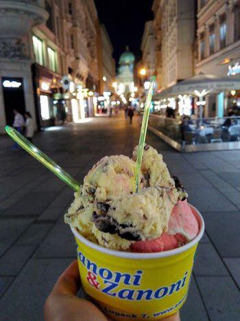 Travael Nofilter Ice Cream Dessert Ready-to-eat Food Night Sweet Food Food And Drink Nightlife Architecture Evning Light Evning Street Vienna Austria Zanoni&zanoni