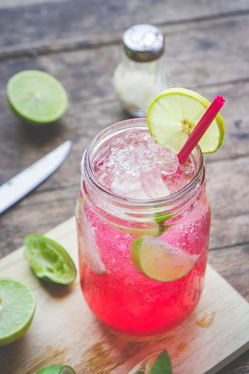 High angle view of drink served in jar on table