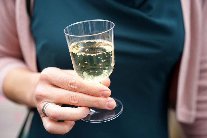 Cropped hand holding plastic cup with wine