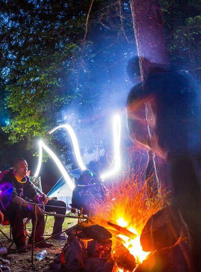 Camping Campfire Spiritual Mystic Shaman Shamanic Journey Lights Night Photography Ghost Forest