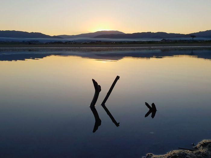 Water Sunset Lake Mountain Reflection Flamingo Sky Landscape Horizon Over Water