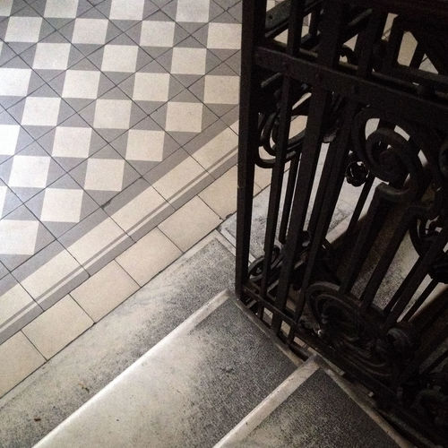 Flooring Indoors  Old-fashioned Pavement Railing Stairs Structure Textured  Tile Tiled Floor