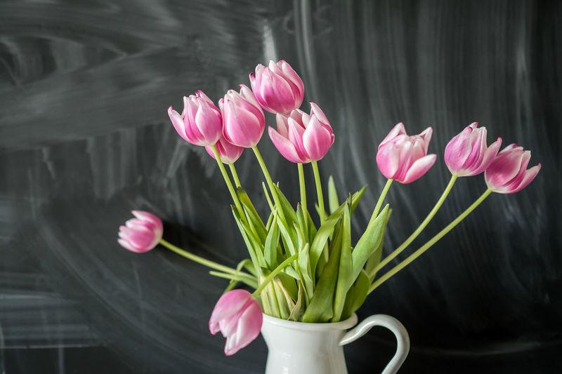 Close-Up Of Pink Tulips In Vase Against Blackboard