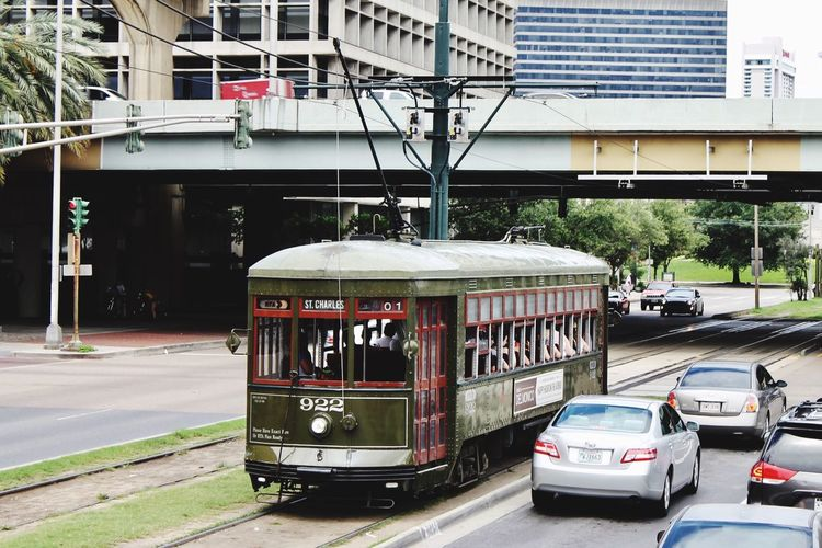 Transportation Architecture Mode Of Transport Built Structure Car Land Vehicle Building Exterior Day Public Transportation City Outdoors Road Tree No People Streetcar New Orleans Historic