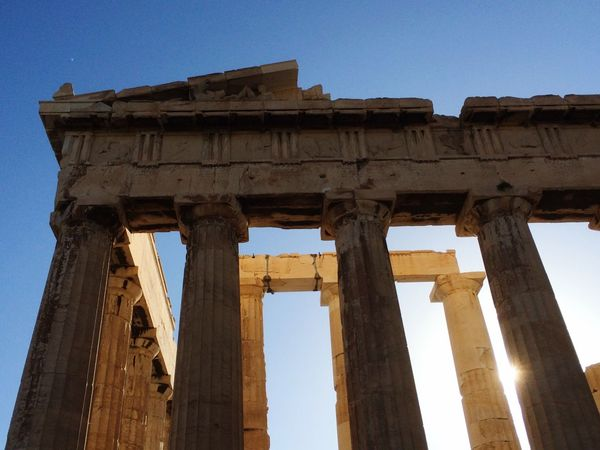 The Parthenon at the Acropolis, Athens, Greece. Photo by Tom Bland. Old Ruin Ancient Ancient Civilization History Archaeology Architectural Column Travel Destinations Tourism Travel IPhoneography IPhone Sky Parthenon Acropolis Acropolis, Athens Athens, Greece Ancient Greek Landmarks Akropolis Sightseeing Historical Building Historical Monuments Historic Blue Sky