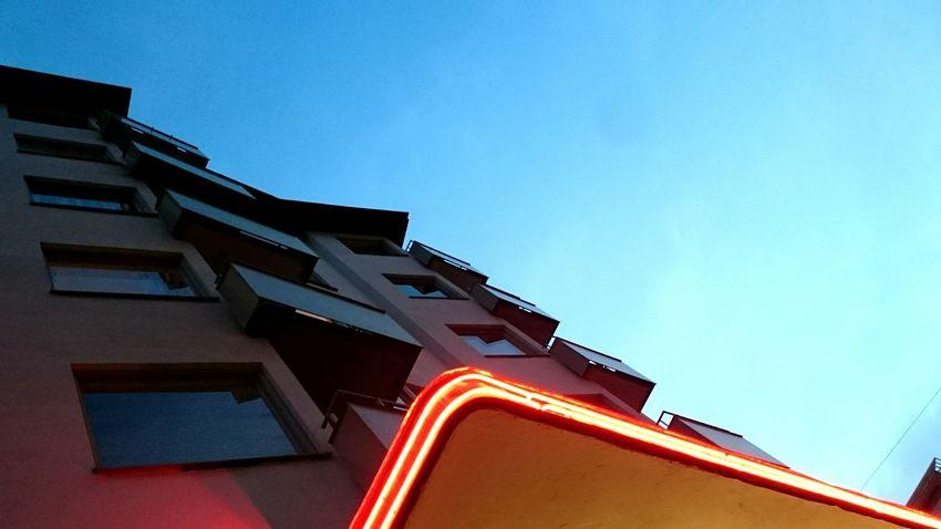 The Neon Sign at the cinema Victoria corner of Åsögatan and Götgatan Södermalm Lookingup Architecture November