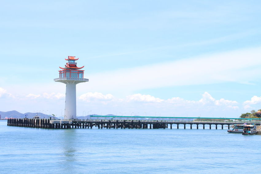 SICHANGISLAND Thailand Architectural Column Architecture Building Building Exterior Built Structure Day Direction Guidance Lighthouse Nature No People Outdoors Pier Protection Safety Sea Security Sky Tower Water Waterfront