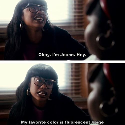 LOL...I can't believe this movie is 5 years old!!! And I know everyone was like WTF is fluorescent beige when she said that. Precious XoshaRoquemore as Joann FluorescentBeige ???
