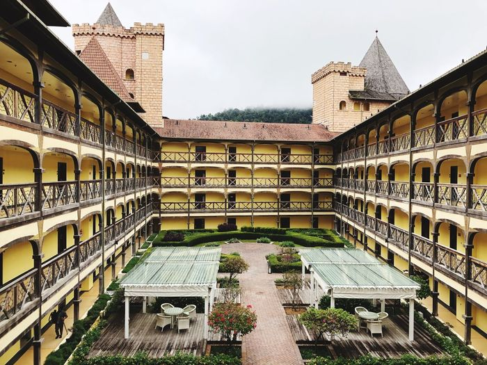 High angle view of courtyard