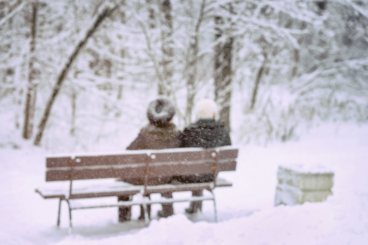 Elderly couple sitting on a wooden bench in a winter snowy day in park, walk and life together, active lifestyle, blurred background Snow Winter Cold Temperature Nature Tree Bench Day Beauty In Nature White Color Outdoors Extreme Weather Elderly Pensioner Pension Couple Wooden Bench Winter Walking Together Active Lifestyle  Healthy Lifestyle Love People Senior Adult