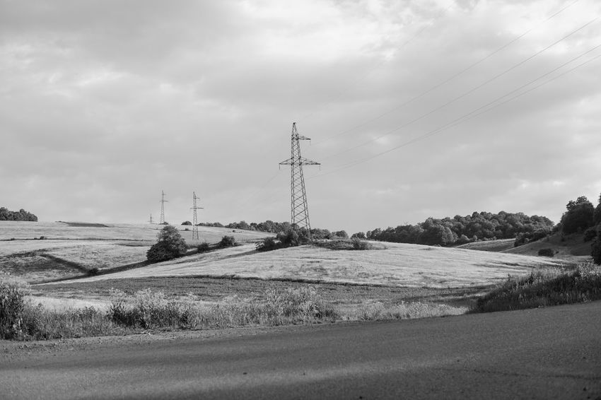 Black And White Friday Blackandwhite Cloud - Sky Connection Electricity Pylon Field Landscape Nature Outdoors Power Line  Sky Technology