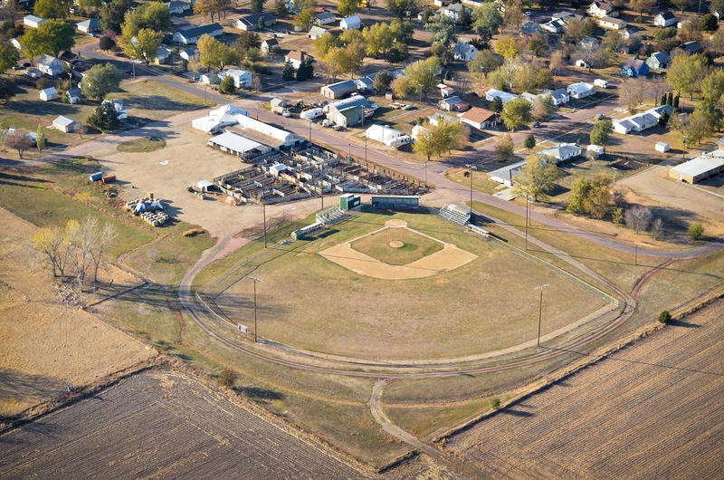 High Angle View Aerial View City Residential District Aerial Aerial Photography Aerial Shot Sports Baseball Softball Diamond Field Baseball Diamond Baseball - Sport Town Neighborhood Park Trees Houses Small Town Athletics