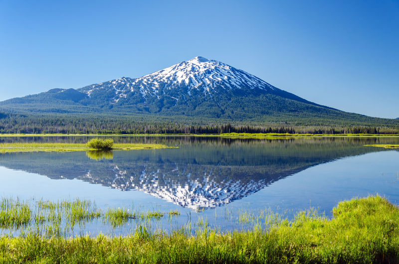 Mt bachelor by lake against clear sky