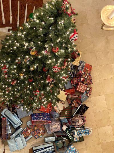 High angle view of christmas tree on floor