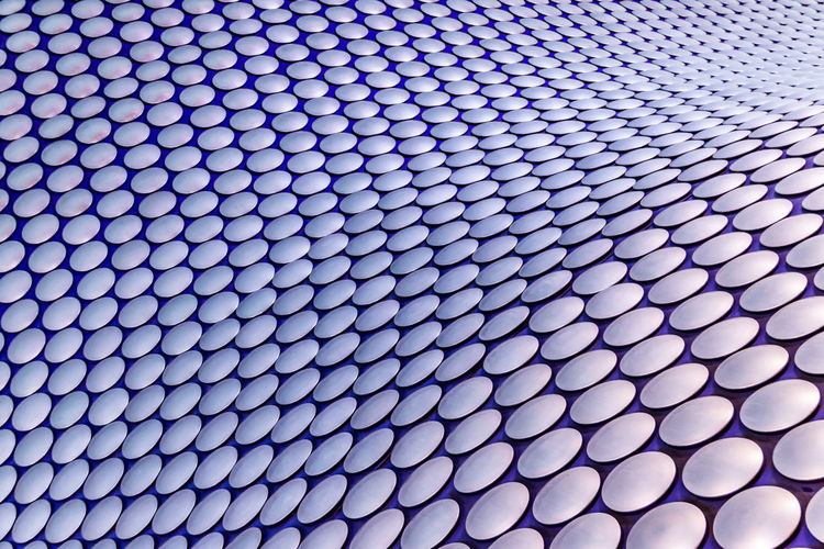 Abstract Architecture Backgrounds Birmingham UK Blue Bullring Circles Close-up Design Detail Full Frame Geometric Shape Modern Multi Colored No People Pattern Repetition Shape Wave