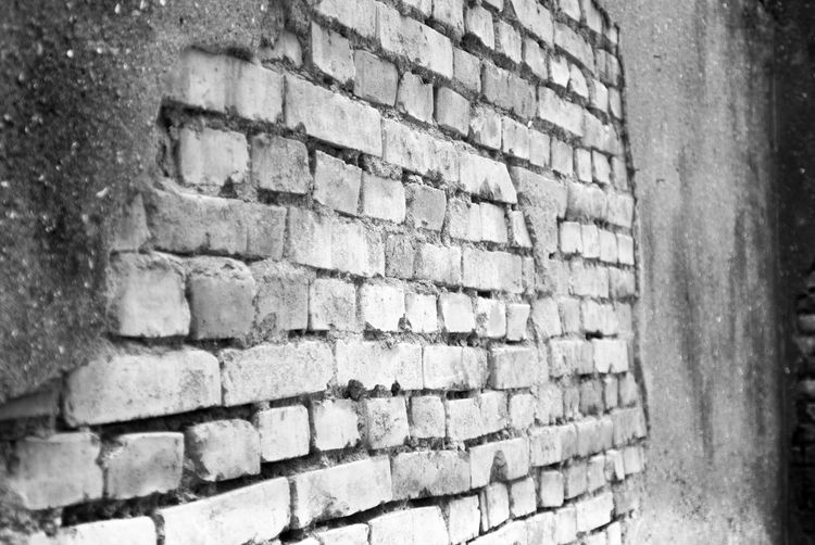 The wall. Brick Wall Wall - Building Feature Brick Built Structure Architecture Outdoors Building Exterior Backgrounds Day No People Full Frame Pattern Close-up 臺灣 攝影 黑白 寫真 寫實