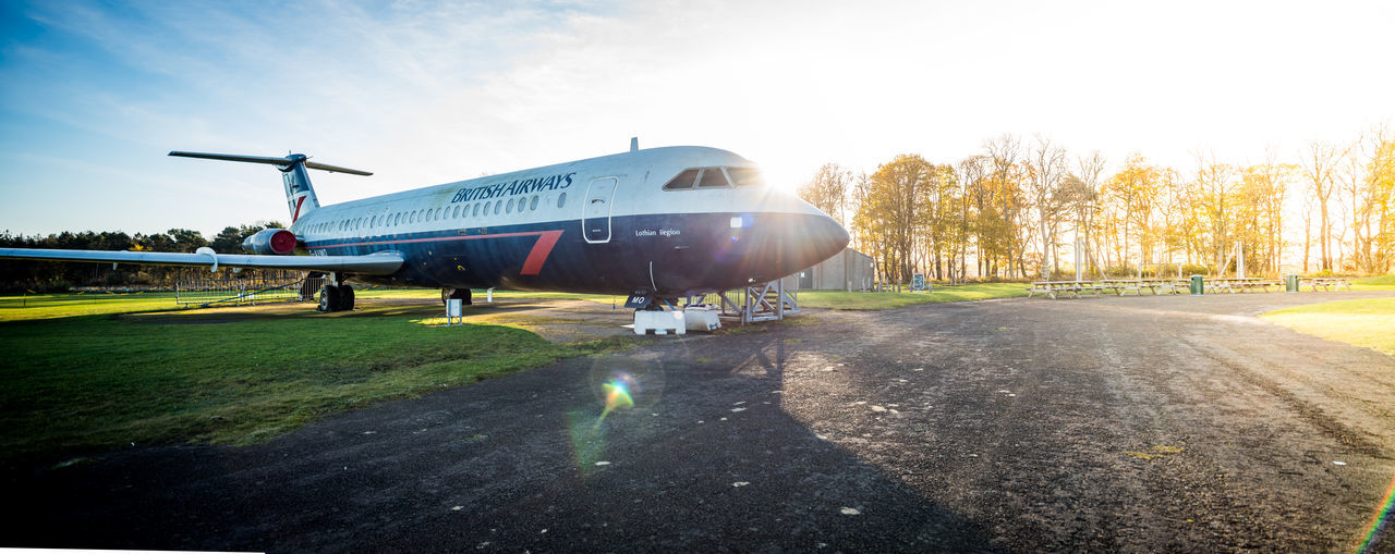 British Airways BAC 111-510ED G-AVMO in an Autumn sunrise. Aeroplane Autumn BAC 111-510ED G-AVMO British Airways Plane Travel Aerospace Industry Air Vehicle Aircraft Airfield Airplane Airport Airport Runway Day Flight No People Outdoors Sky Sun Flare Sunlight Sunrise Transportation