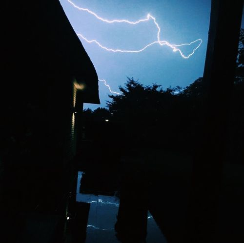 Night Lightning Power In Nature Weather Silhouette No People Outdoors Forked Lightning Sky Built Structure Building Exterior Nature Thunderstorm Architecture Storm Cloud Illuminated Tree Beauty In Nature VSCO