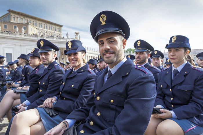 Rome, Italy - April 30, 2016: Cadets of police school in St. Peter's Square, on the occasion of the day dedicated to the jubilee of the military family and the police. Cadets Commissioner Officers Outdoors Policeman Policewoman Portrait Representative Uniforms