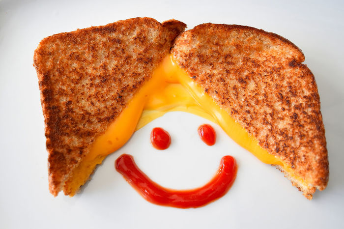 """Say Cheese!"" Bread Brown Bread Check This Out Close-up Food Food And Drink Grilled Cheese Grilled Cheese Sandwich Ketchup No People Plate Ready-to-eat Sliced Bread Toasted Bread Anthropomorphic Smiley Face Anthropomorphic Face Circles Circle Corners Edges And Corners Edges Lines And Angles Circular Lines Visual Feast"