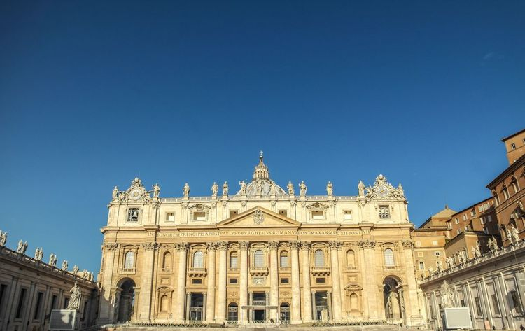 Vatican - March 2015 No Clouds Blue Sky Europe Italy Rome Vatican Architecture Built Structure Building Exterior Clear Sky Blue Travel Destinations Outdoors Religion Day Low Angle View History Façade Place Of Worship Spirituality No People Sky