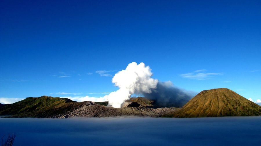 Scenic View Of Mt Bromo Against Clear Blue Sky