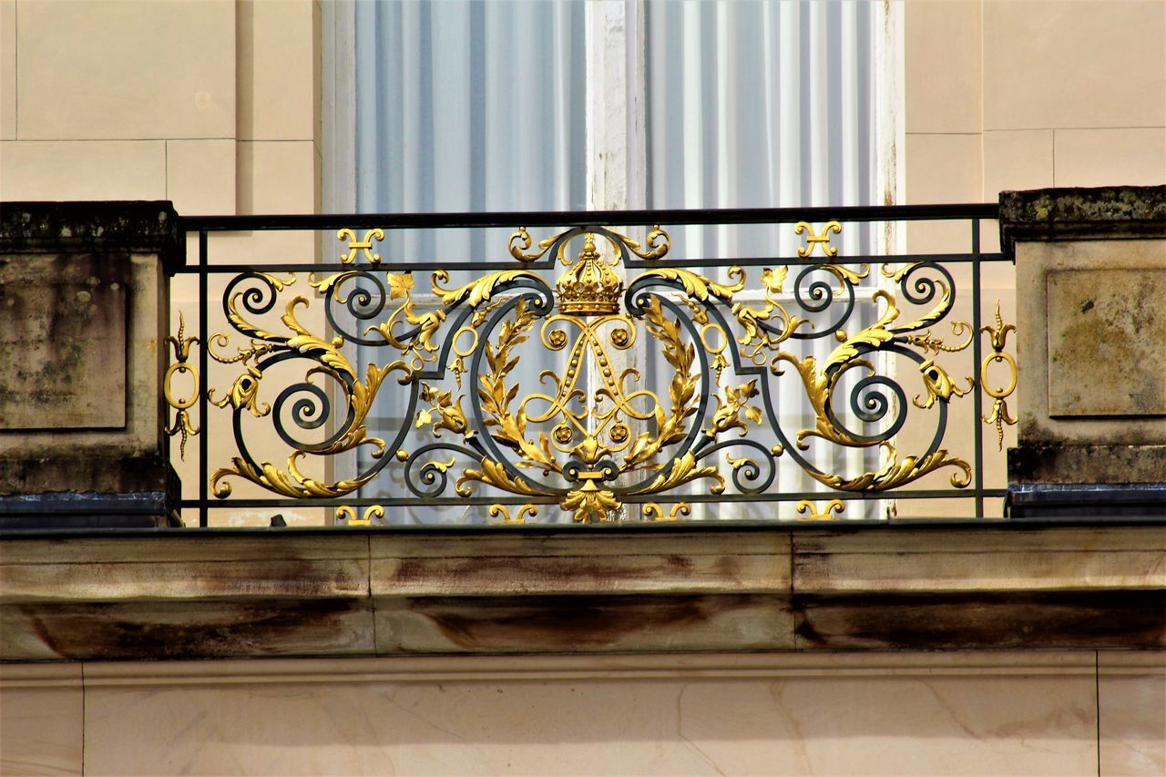 design, no people, architecture, gold colored, wrought iron, built structure, building exterior, day, indoors, close-up