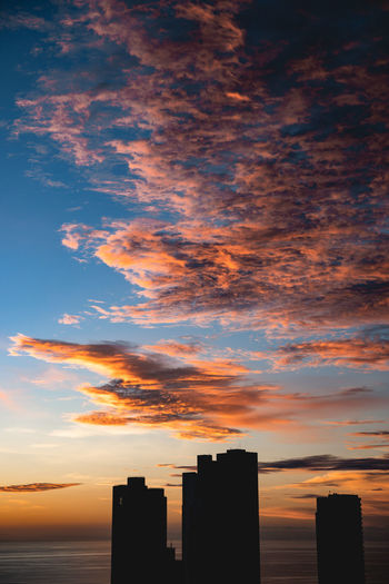 Silhouette buildings against cloudy sky during sunset