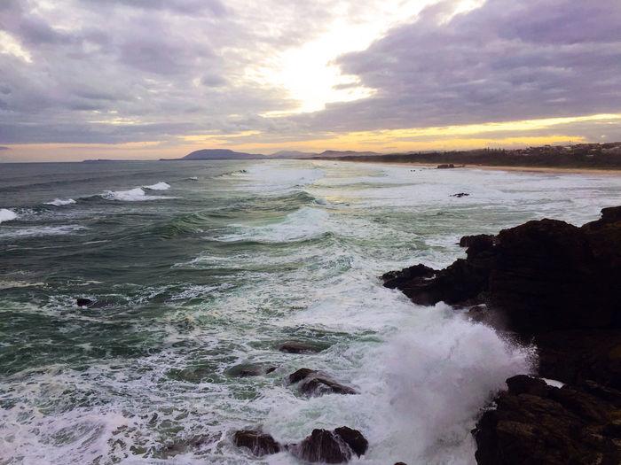 Lighthouse Port Macquarie Rain Surf Clouds Landscape Seavies Waves