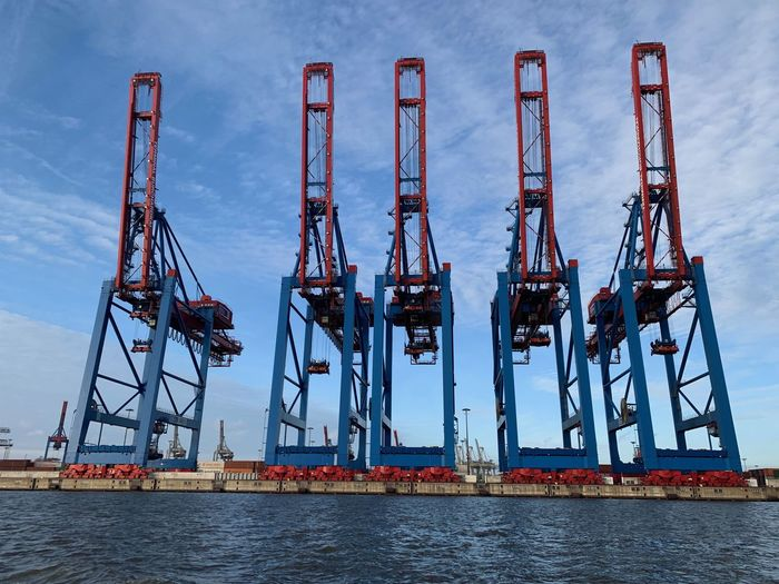 Hamburgmeineperle Harbour Industry Machinery Freight Transportation Crane - Construction Machinery Water Shipping  Business