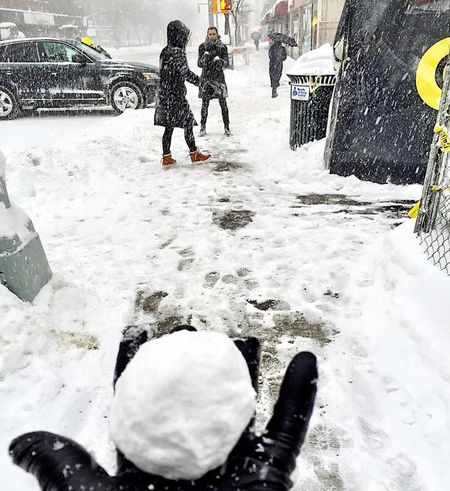 Snow ball fight #Blizzard2016 Blizzard Blizzard 2016 Cold Cold Temperature Friendship Frozen Jonas Manhattan New York City New York City Ballet Outdoors Season  Snow Snow Covered Snowball Weather Winter Winter Storm