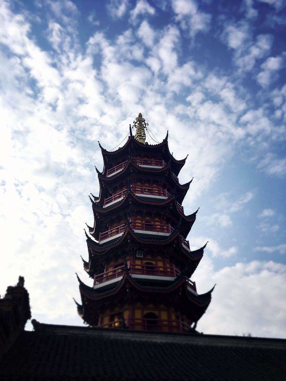 Low Angle View Of Jiming Temple Against Sky