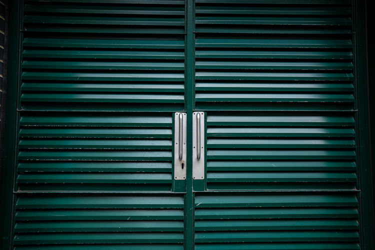 Iron doors painted green