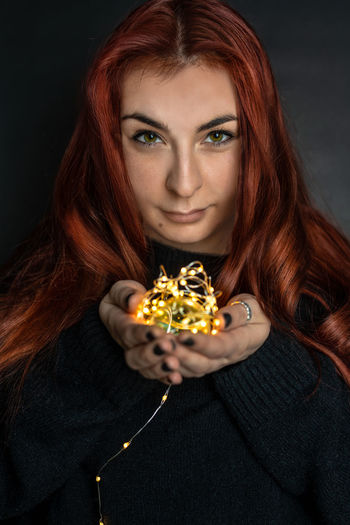 a woman Red Hair Woman Portrait Long Hair Shiny Liggt Dark Magic Beautiful Red Hair Long Hair Shinny Shinny Things Eyes