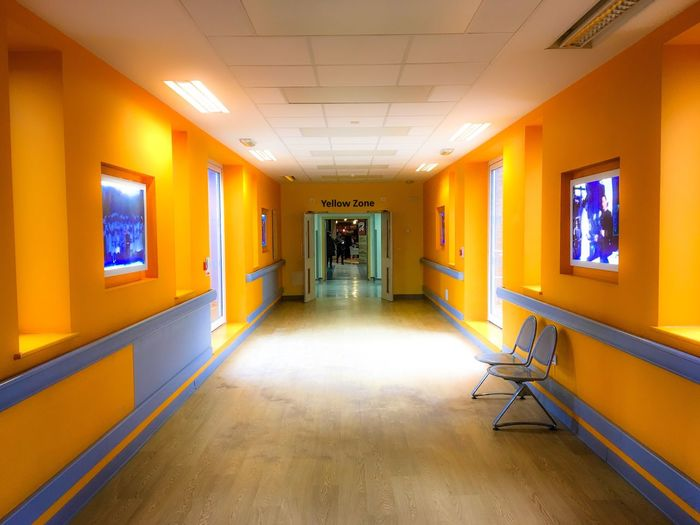 Yellow Zone Indoors  Illuminated No People Built Structure Architecture Day Modern Hallway Bright Light Corridor Long Corridor Yellow Yellow Zone Lewisham, London Colourful Hospital Corridor Paint The Town Yellow