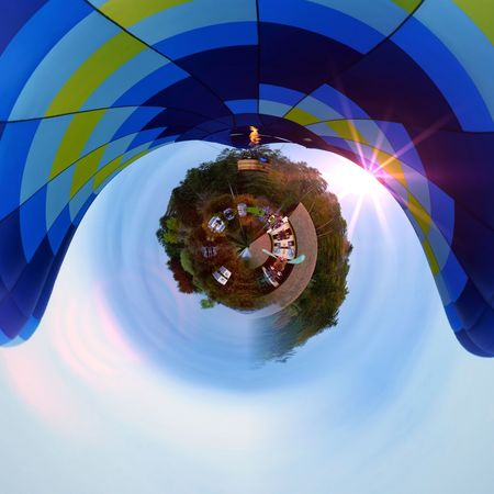 Balloon Eyeem Marketplace Sphere Sky Nature No People Built Structure Sunlight Blue Fish-eye Lens Geometric Shape Circle Building Exterior Architecture Day Shape Tree Outdoors Distorted Image Digital Composite Plant Building Capture Tomorrow