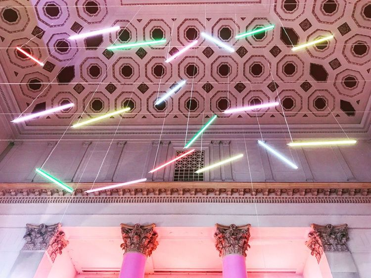Always Look Up Classic Architecture Lights Architecture Color Explosion Columns Electricity  Illuminated Indoors  Low Angle View Multi Colored No People Pink Color Purple Technology Vaulted Ceilings