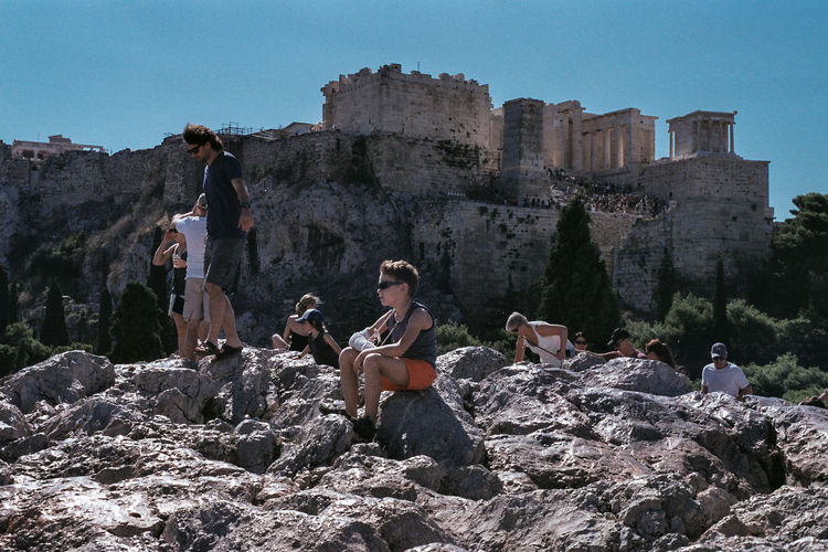 #urbanana: The Urban Playground 35mm Film Analogue Photography Athens, Greece Travel Architecture Athens Built Structure Casual Clothing Day Europe Greece Group Of People History Lifestyles Outdoors Real People Rock Sky
