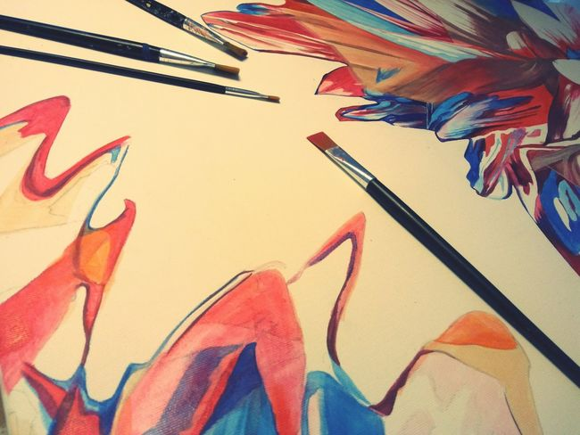 Painting In Progress Acrylic Painting Paint Brushes Red Color Blue Color Canvas