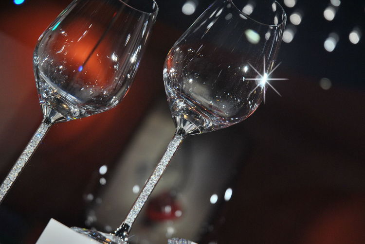 Swarovsky glasses Close-up Day Drop Focus On Foreground Fragility Glasses Indoors  No People Swarovski Crystals Water Wine Wineglass