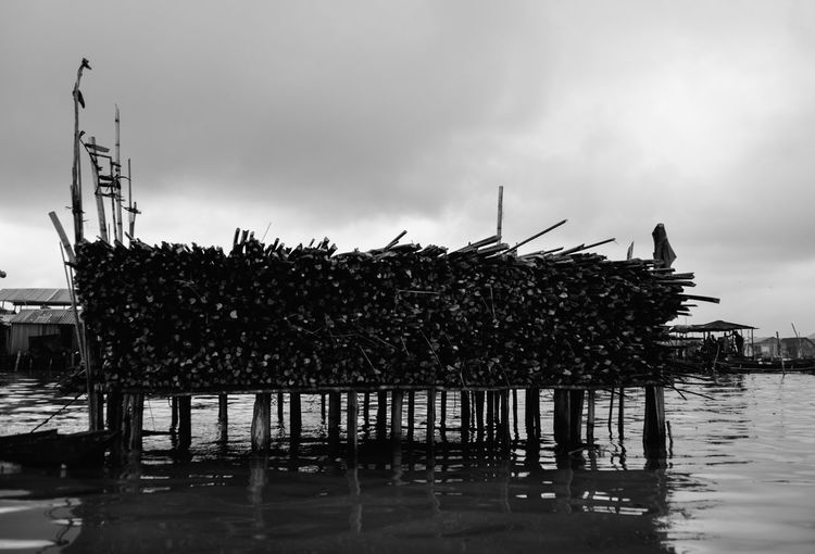 Animal Themes Architecture Cloud - Sky Day Fishing Industry Mode Of Transportation Nature Nautical Vessel No People Outdoors Pier Plant Reflection Sea Sky Tranquility Transportation Water Waterfront Wooden Post
